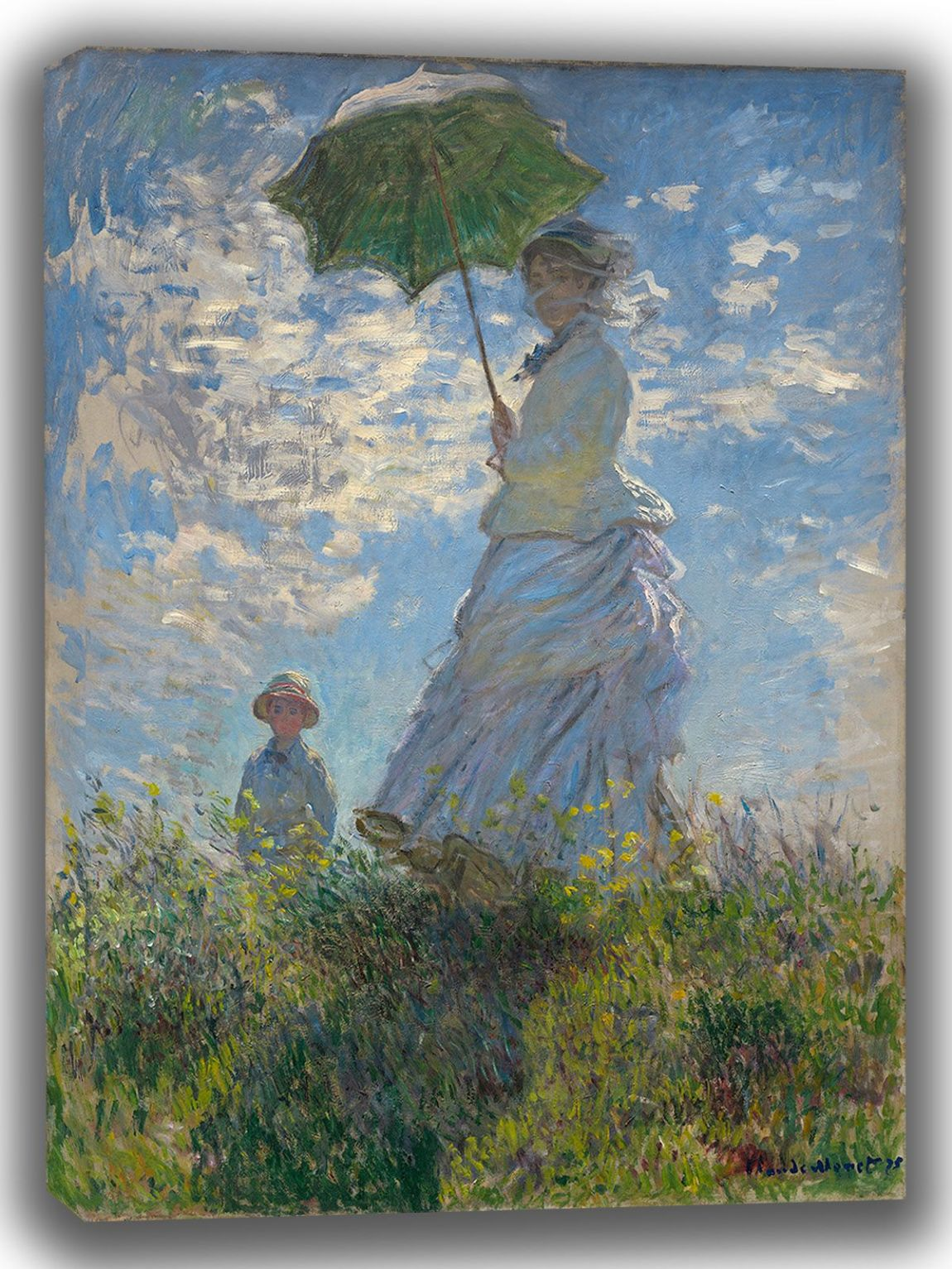 Monet, Claude: Woman with a Parasol - Madame Monet and Her Son. Fine Art Canvas. Sizes: A4/A3/A2/A1 (003556)